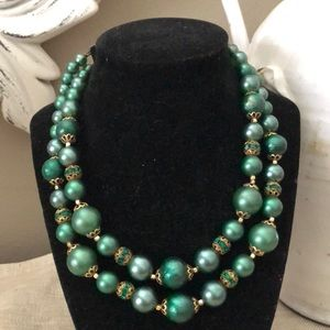 Vintage double-strand green bead/crystal necklace